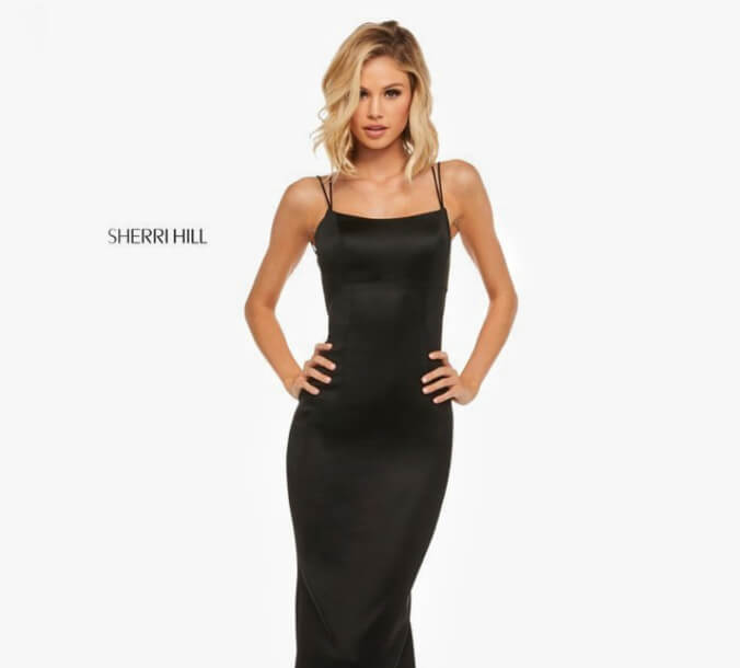 Blonde in Black Sherri Hill Dress