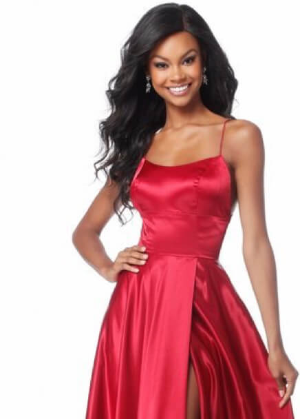 Brunette in Red Sherri Hill Dress