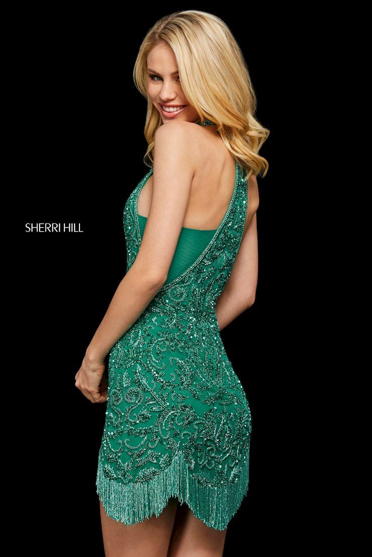 Blonde in Green Sherri Hill Dress